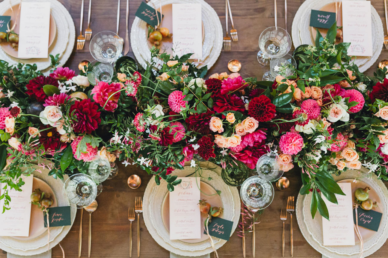 pink and red table garland