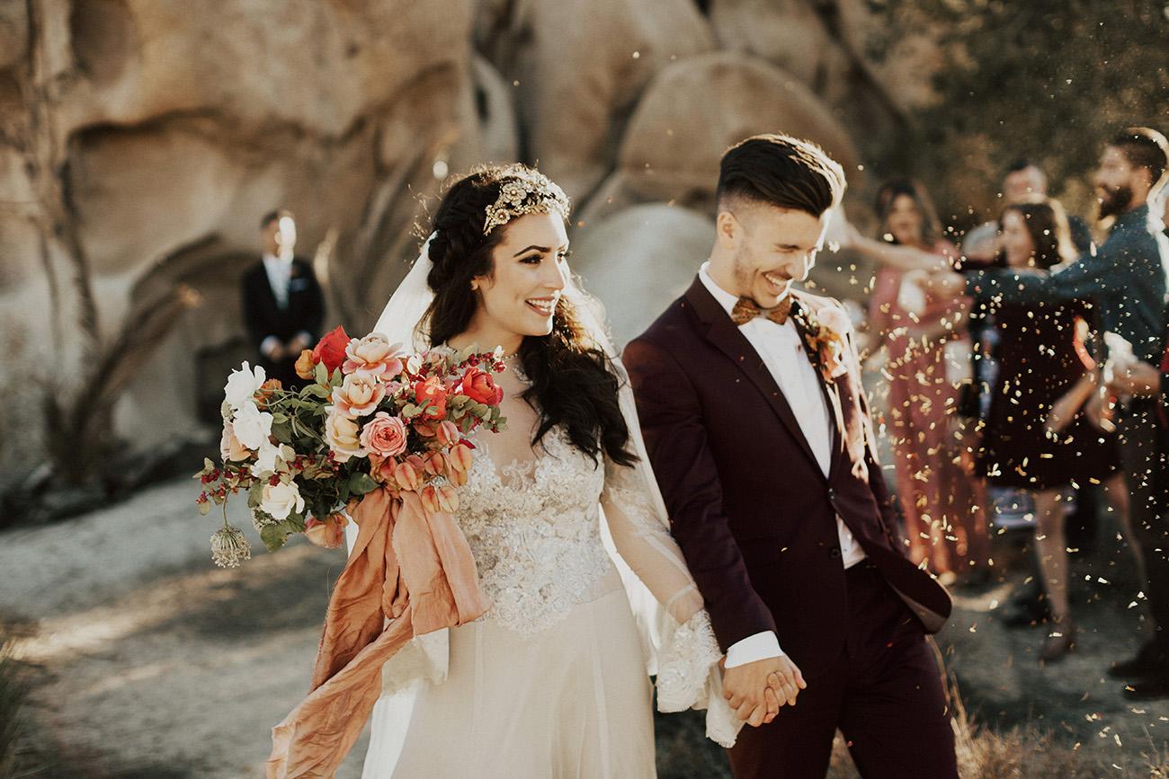 Wedding Exit in Joshua Tree