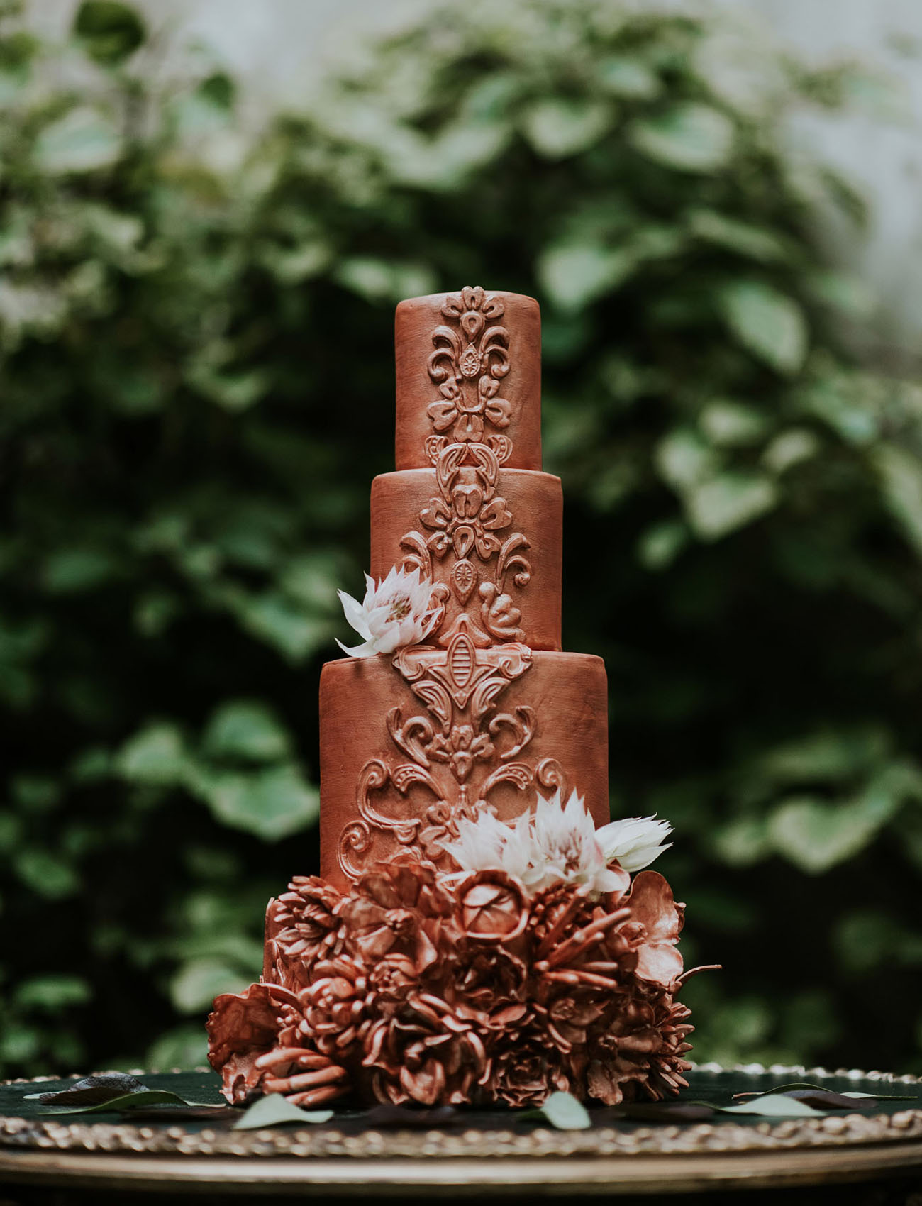 brown etched cake