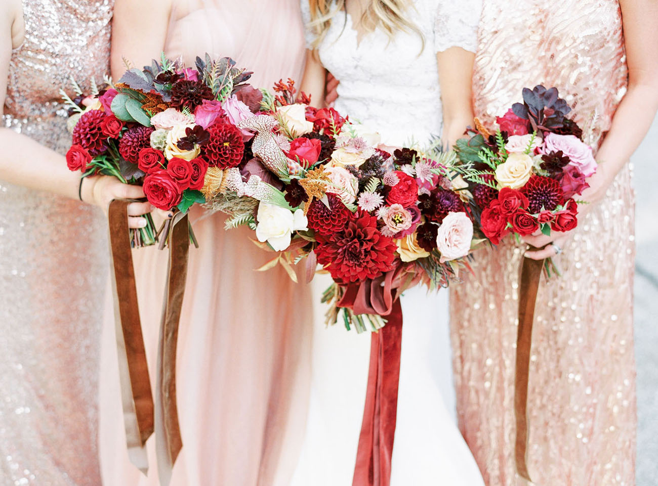 red fall bouquets
