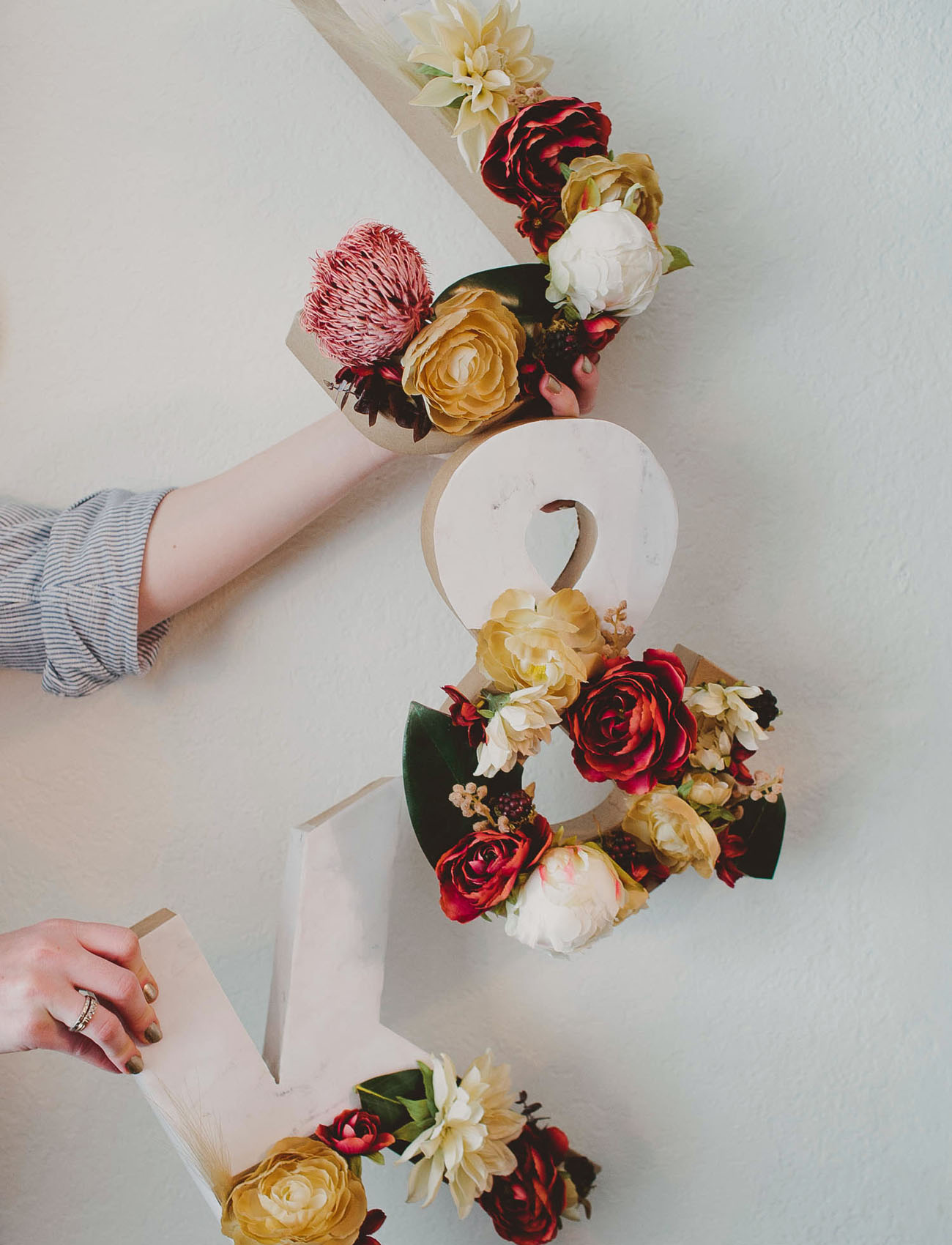 DIY Floral Marble Letters