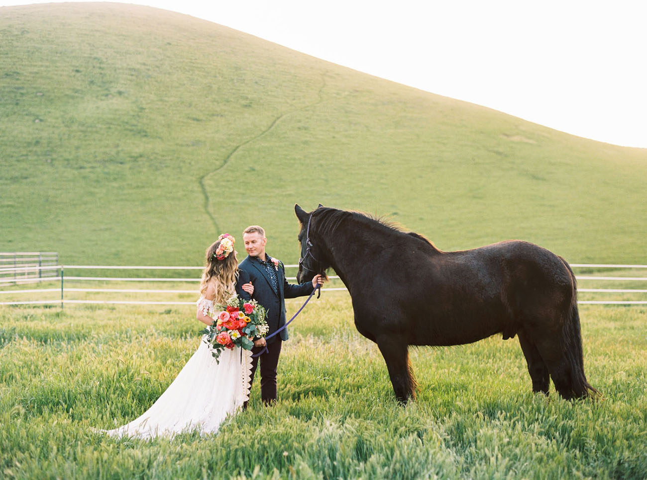 bride and a horse
