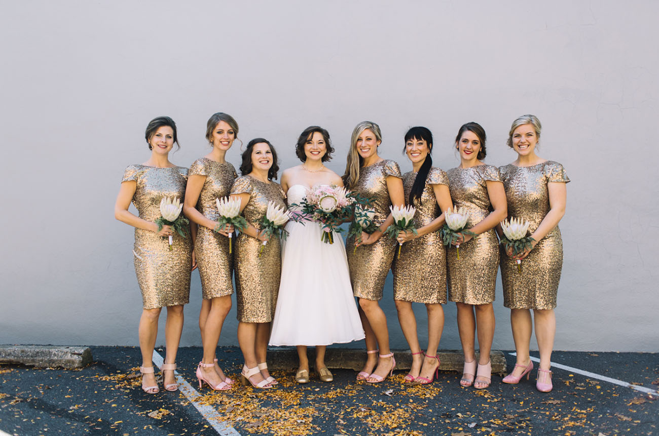 Gold bridesmaids