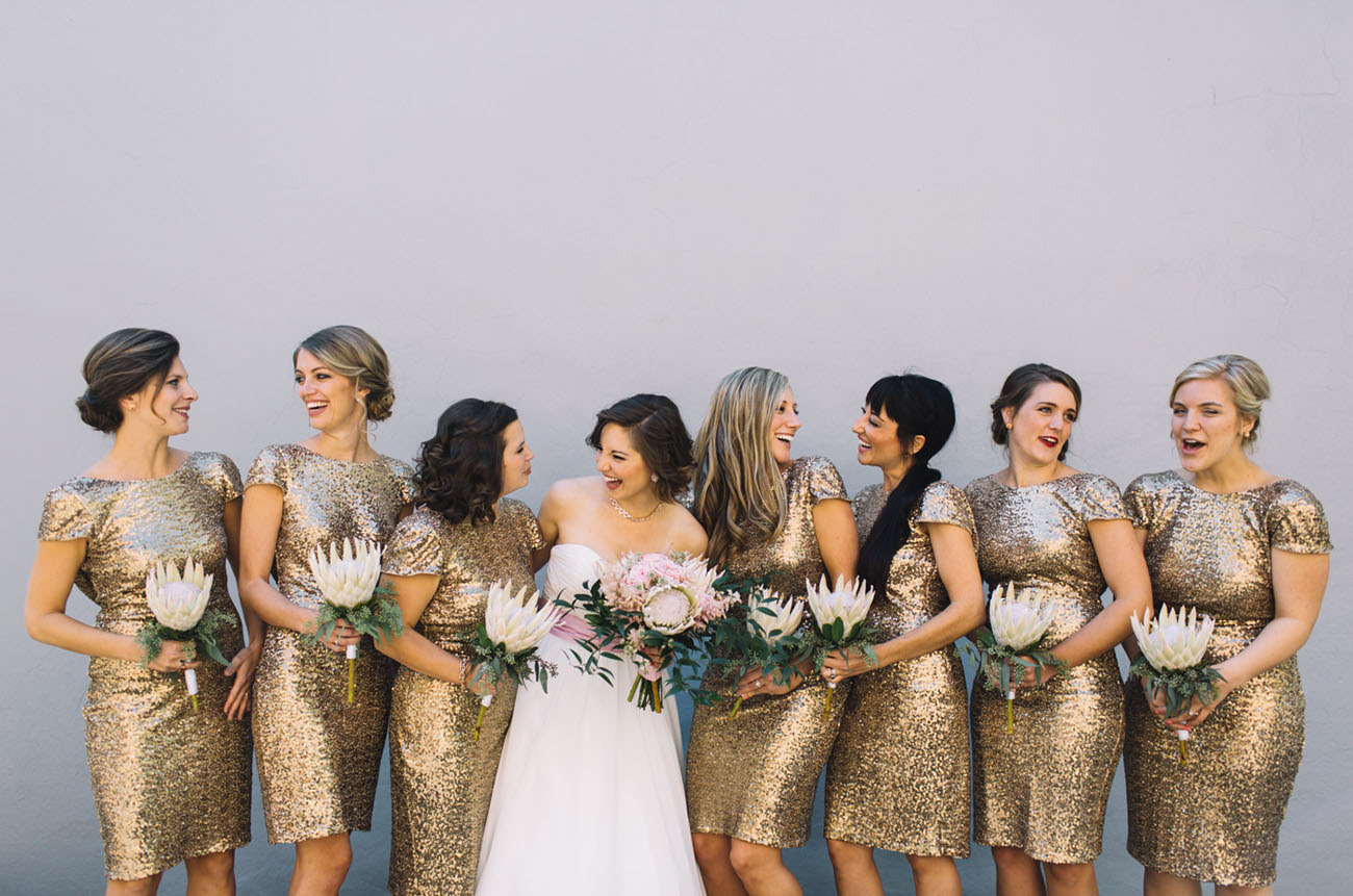 gold sequin bridesmaids