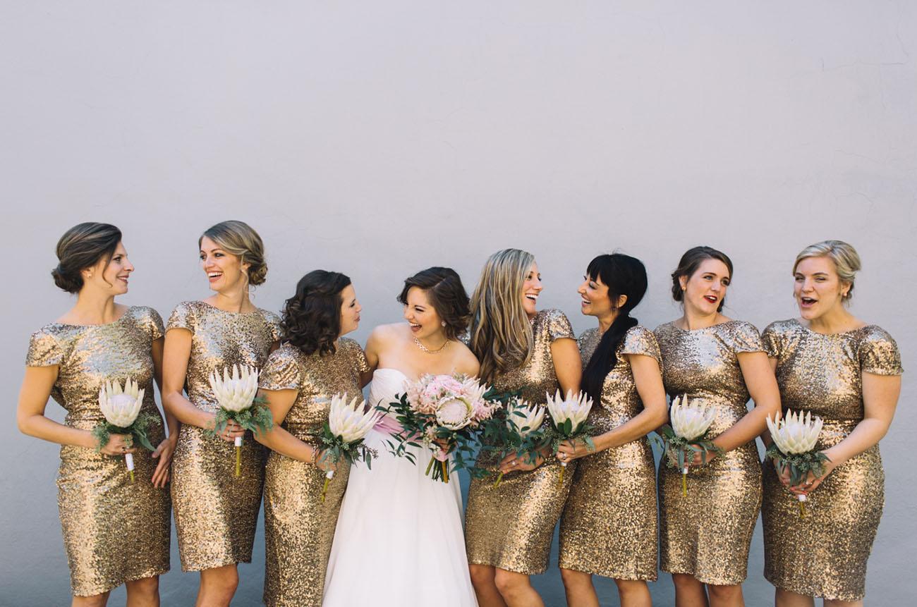 gold sequin bridesmaids