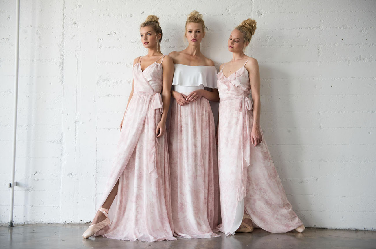 Pretty in Pink Blush Ballet-Inspired Bridesmaids Dresses by Joanna August - Weddings