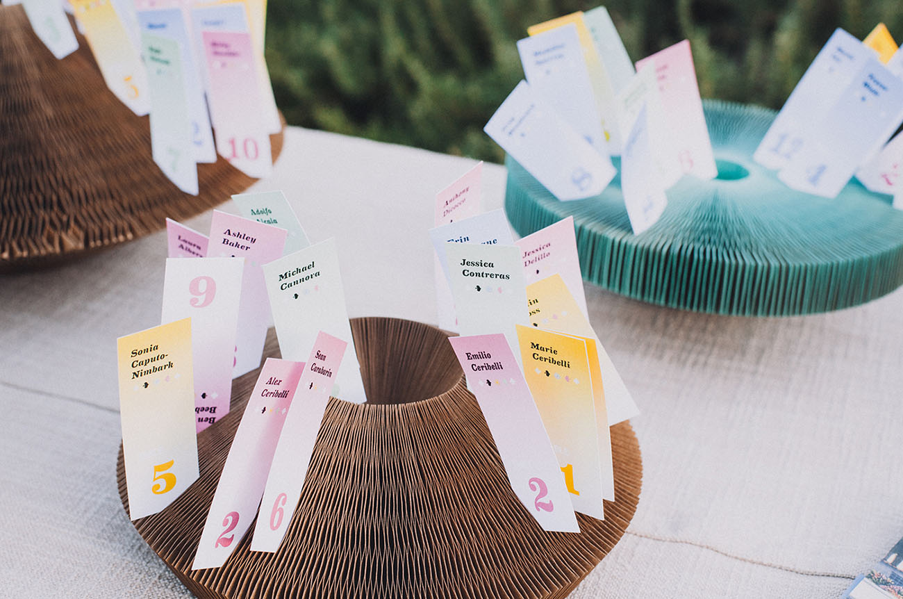 colorful escort cards