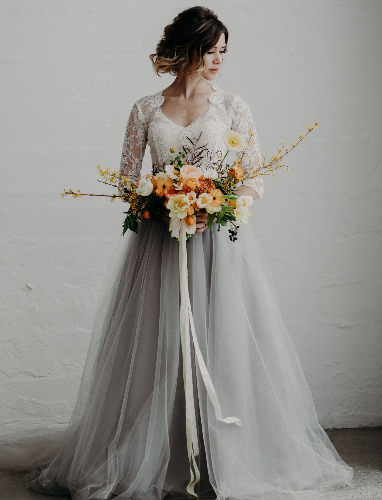 Modern moody wedding inspiration featuring a gray tulle for Tulle skirt wedding dresses