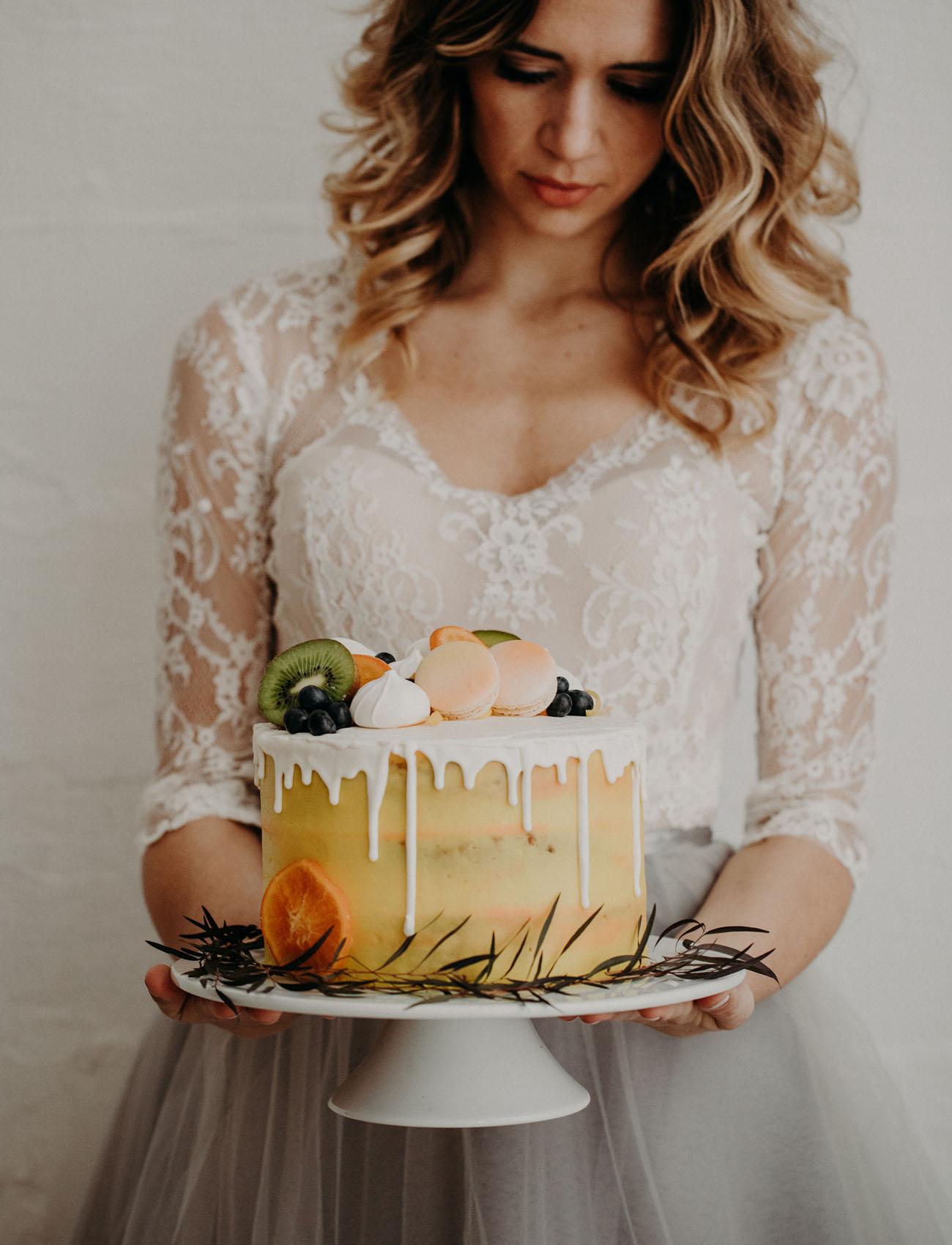 yellow spring drip cake