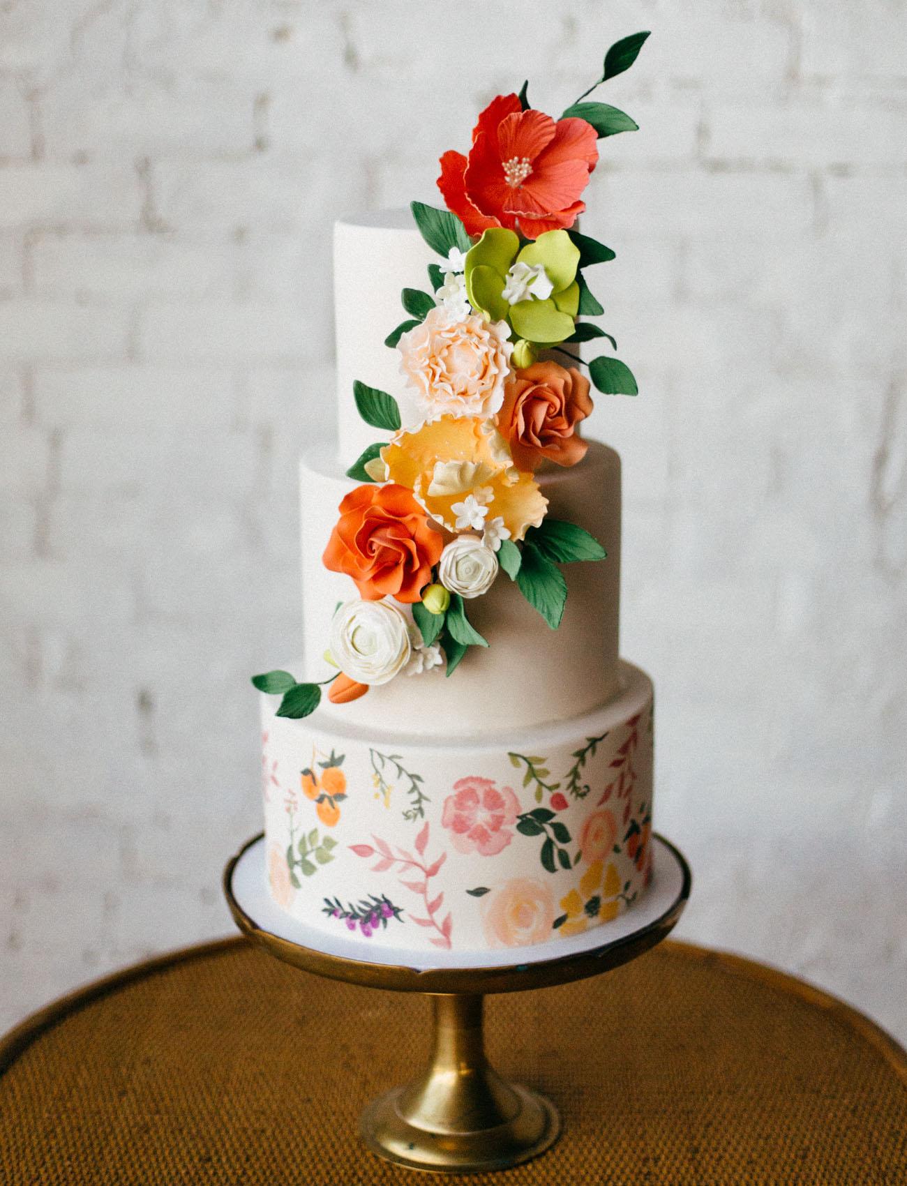 orange flower cake