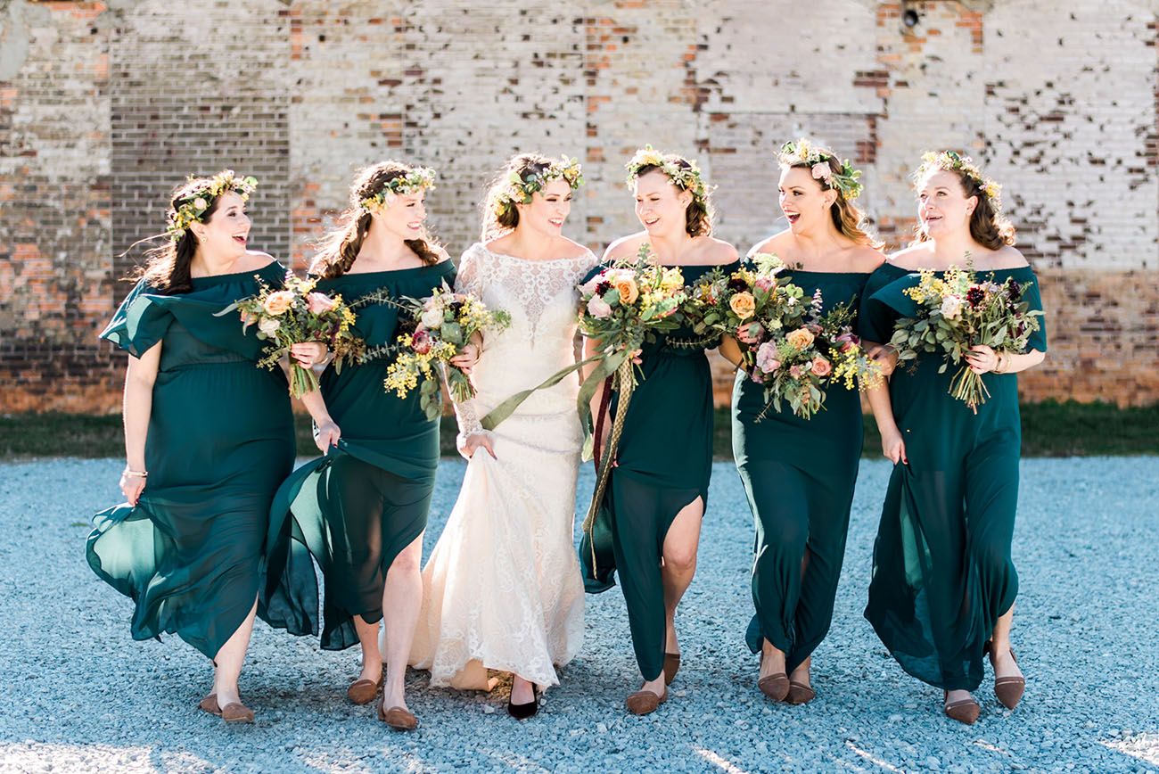 off the shoulder bridesmaids