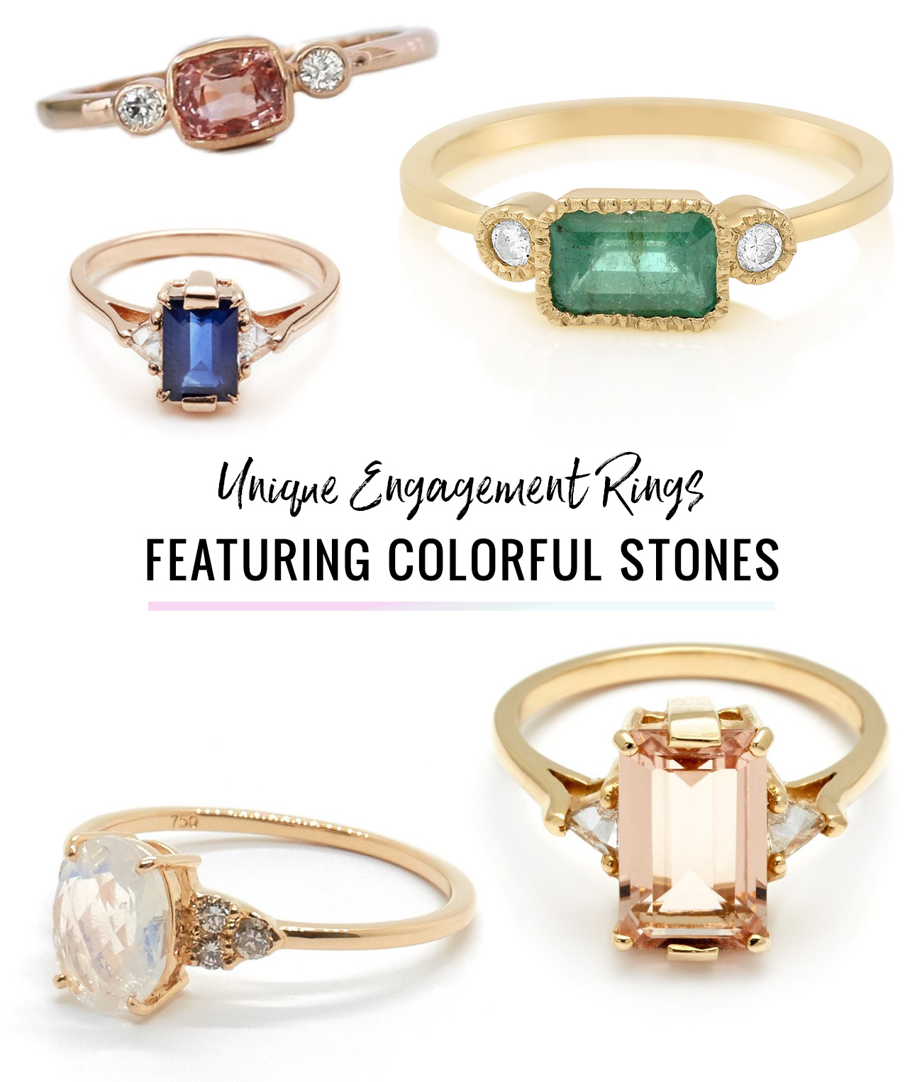 Unique Engagement Rings with Colorful Stones
