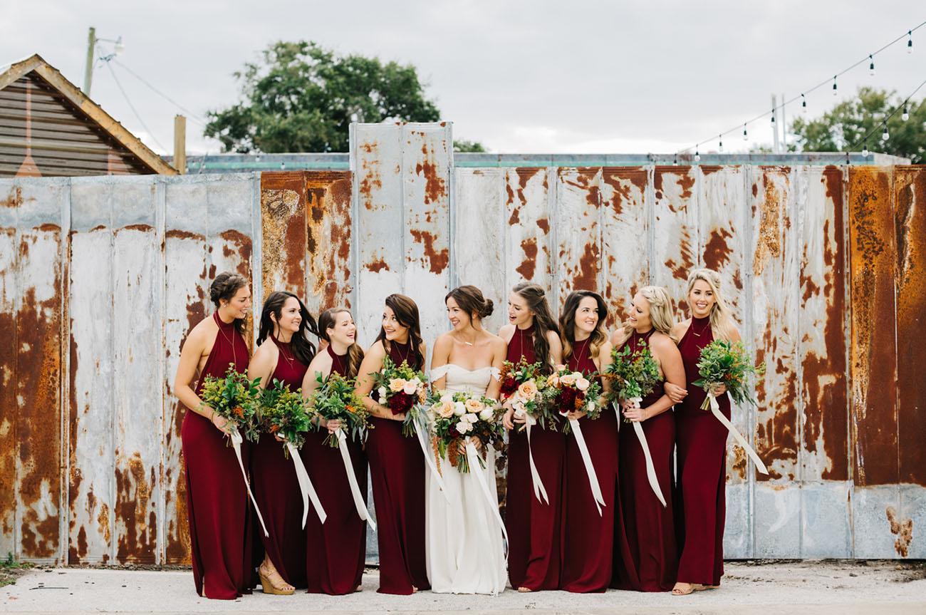 burgundy bridesmaids