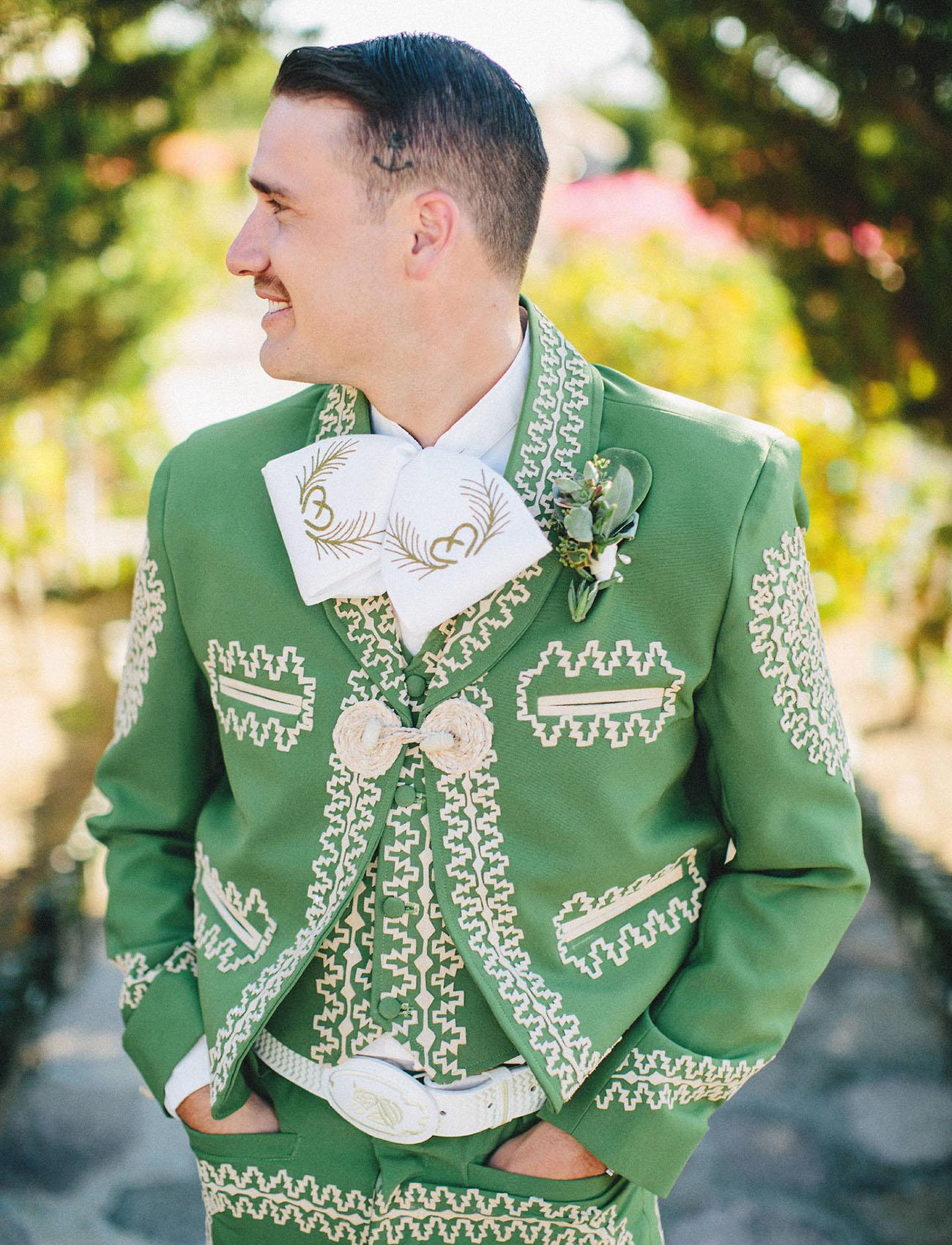 green charro grooms suit