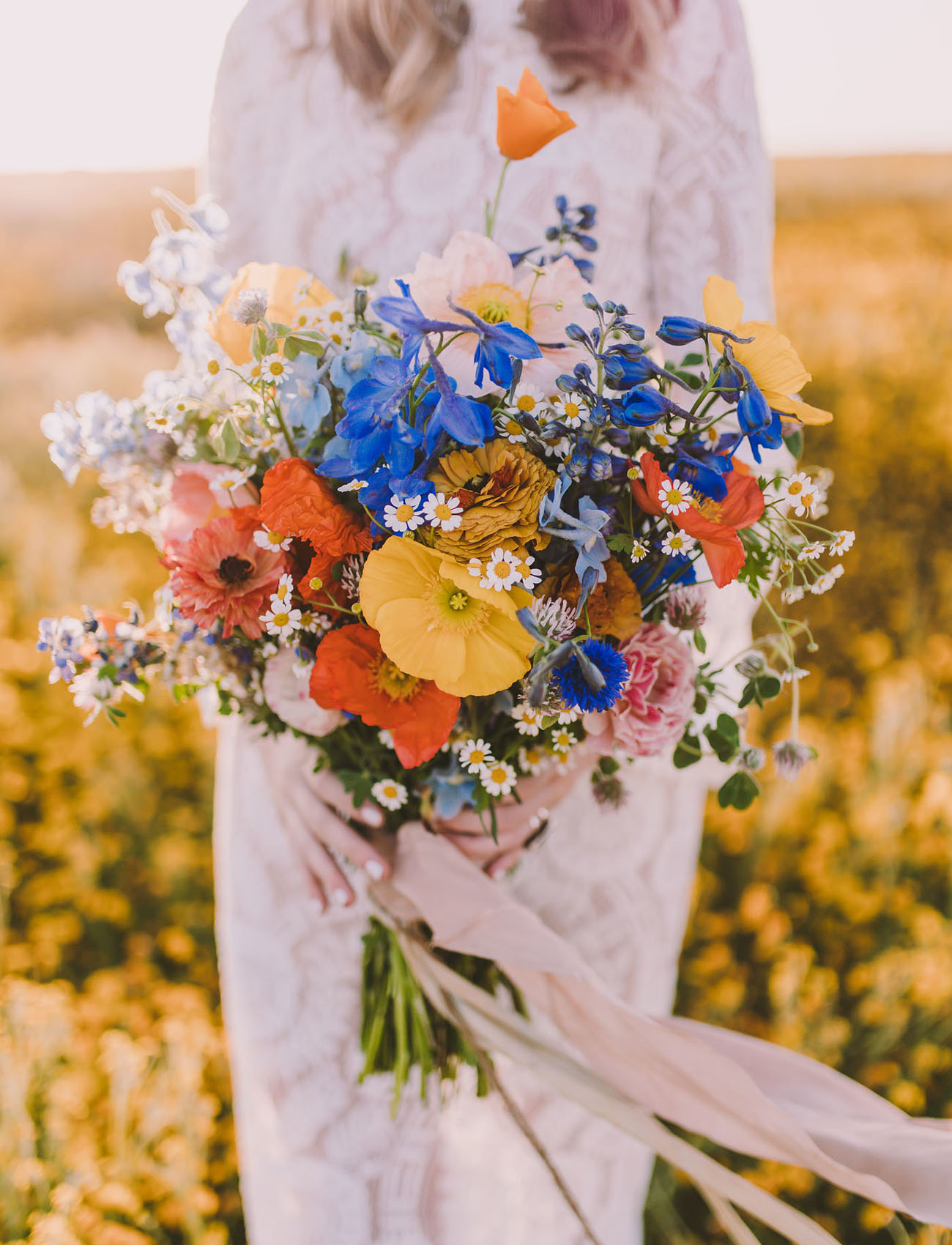 Sweet 70s Wildflower Bridal Inspiration