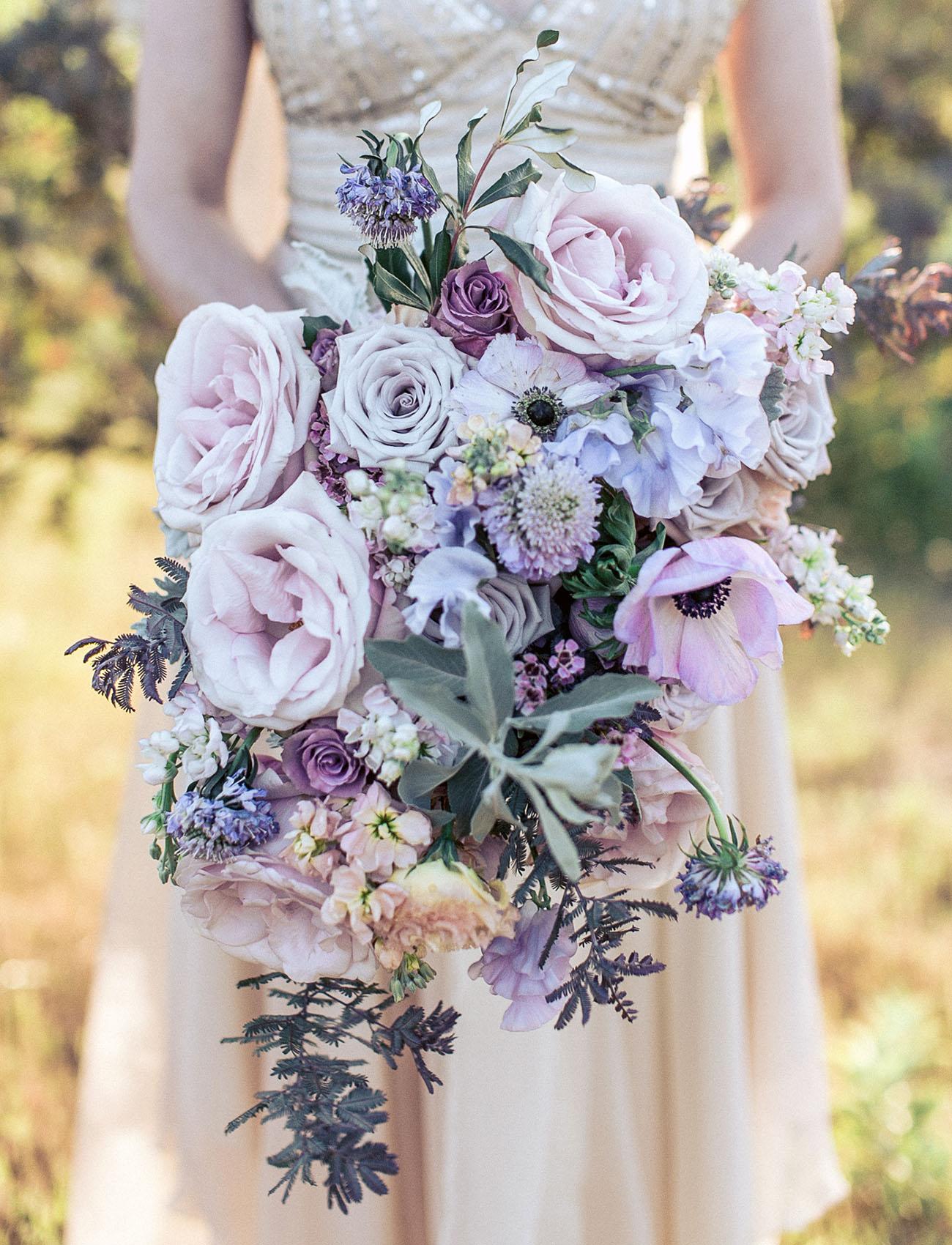 purple rose anemone bouquet