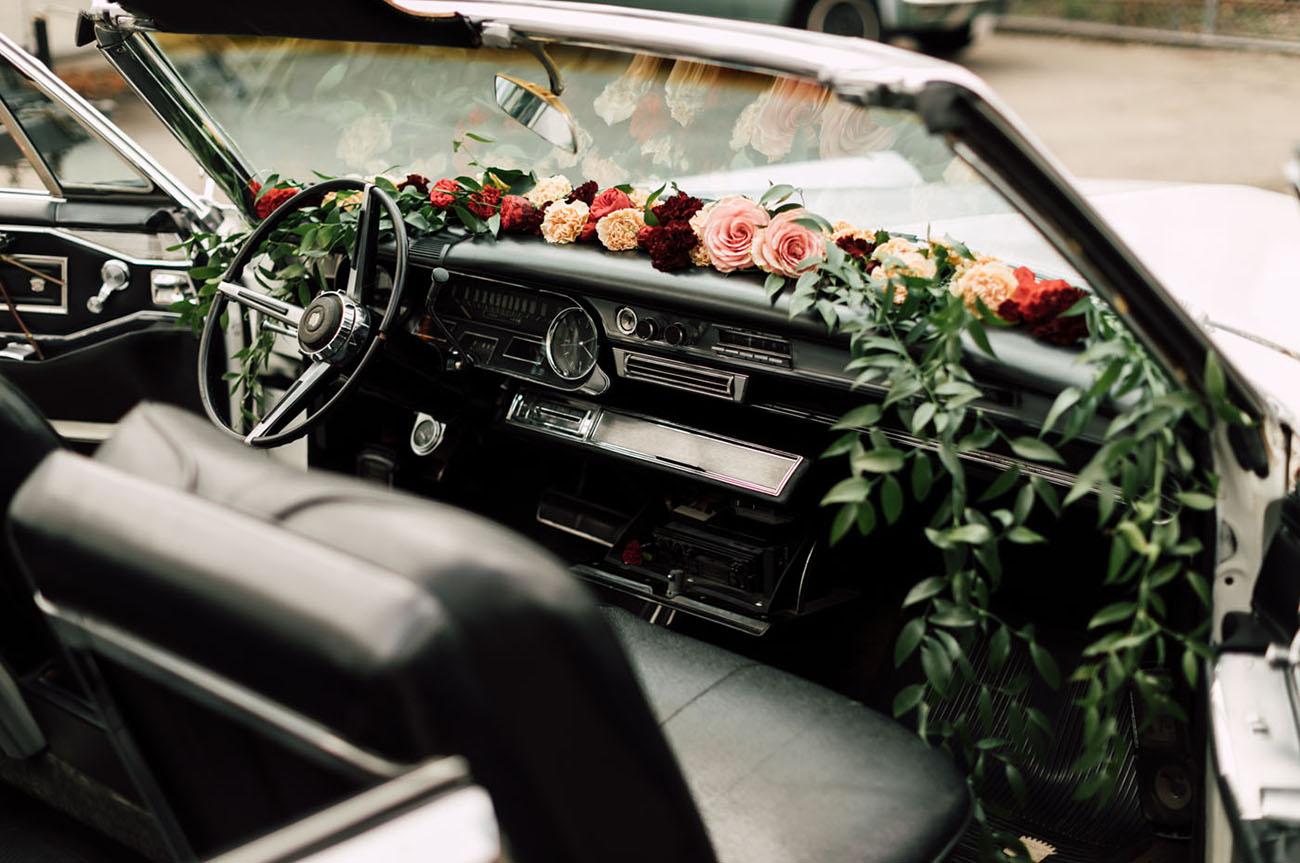 flower filled car