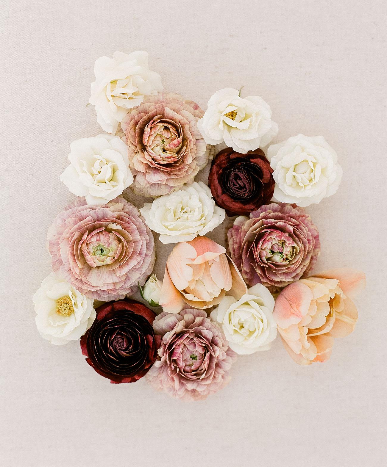 garden roses and ranunculs