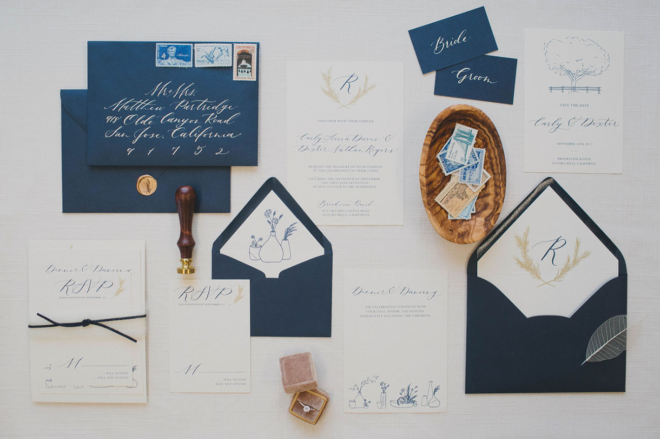 navy blue invitation suite