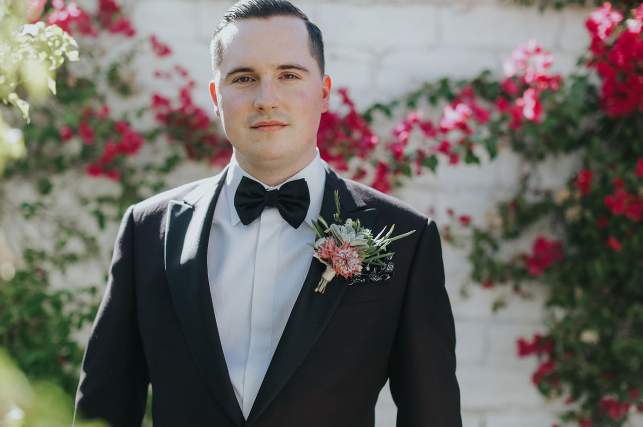black tux groom