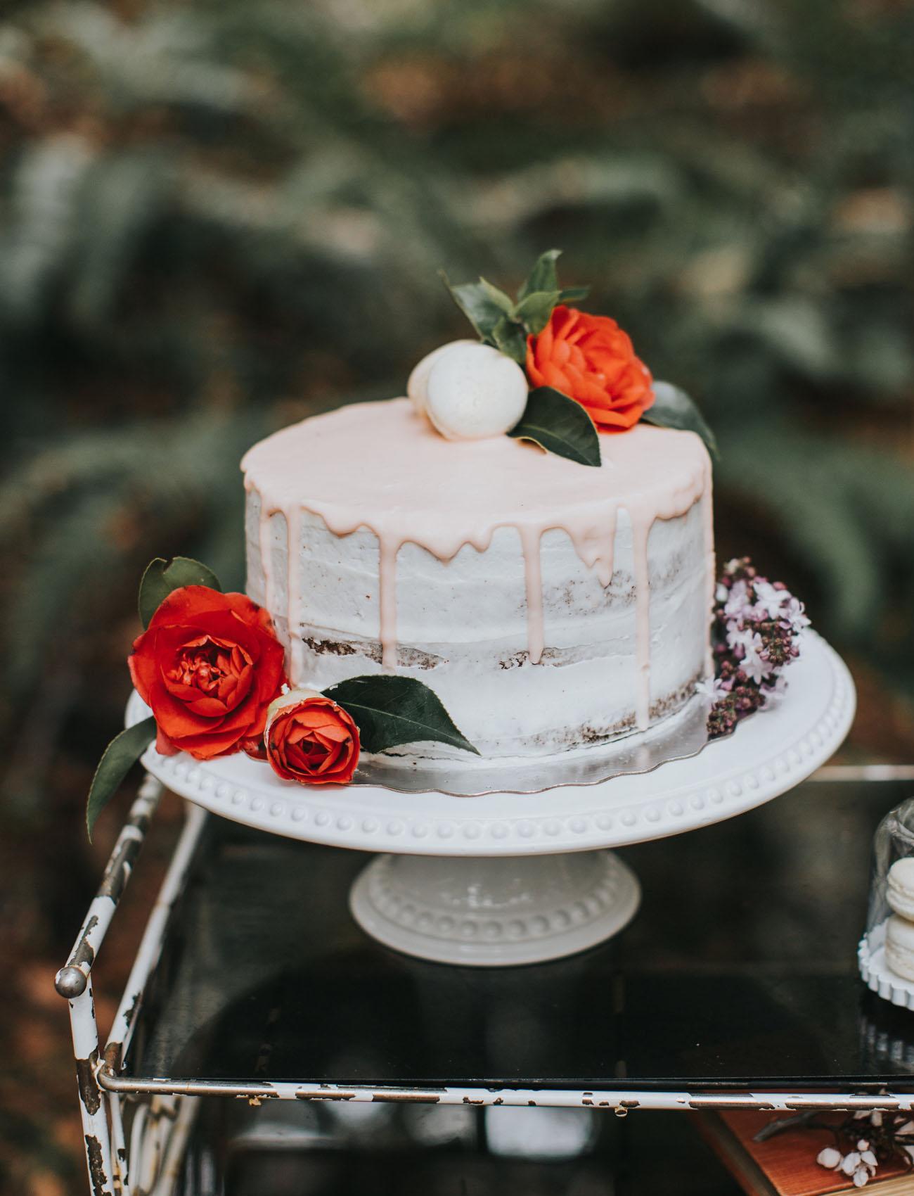 light pink drip cake