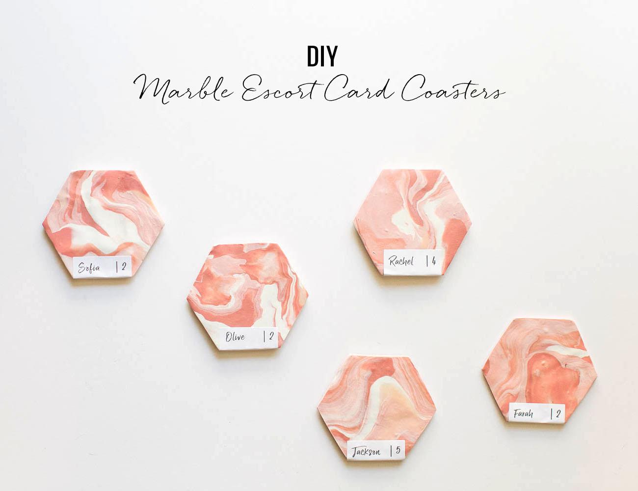 DIY Marble Escort Card Coasters - Green Wedding Shoes