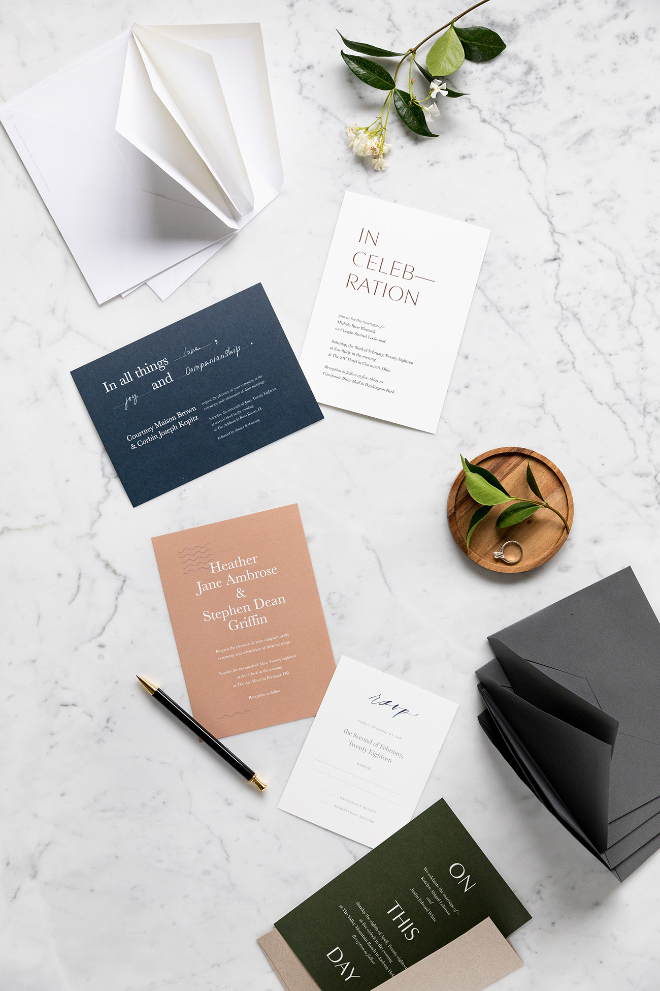 Modern Luxe Wedding Invitations from Artifact Uprising Green