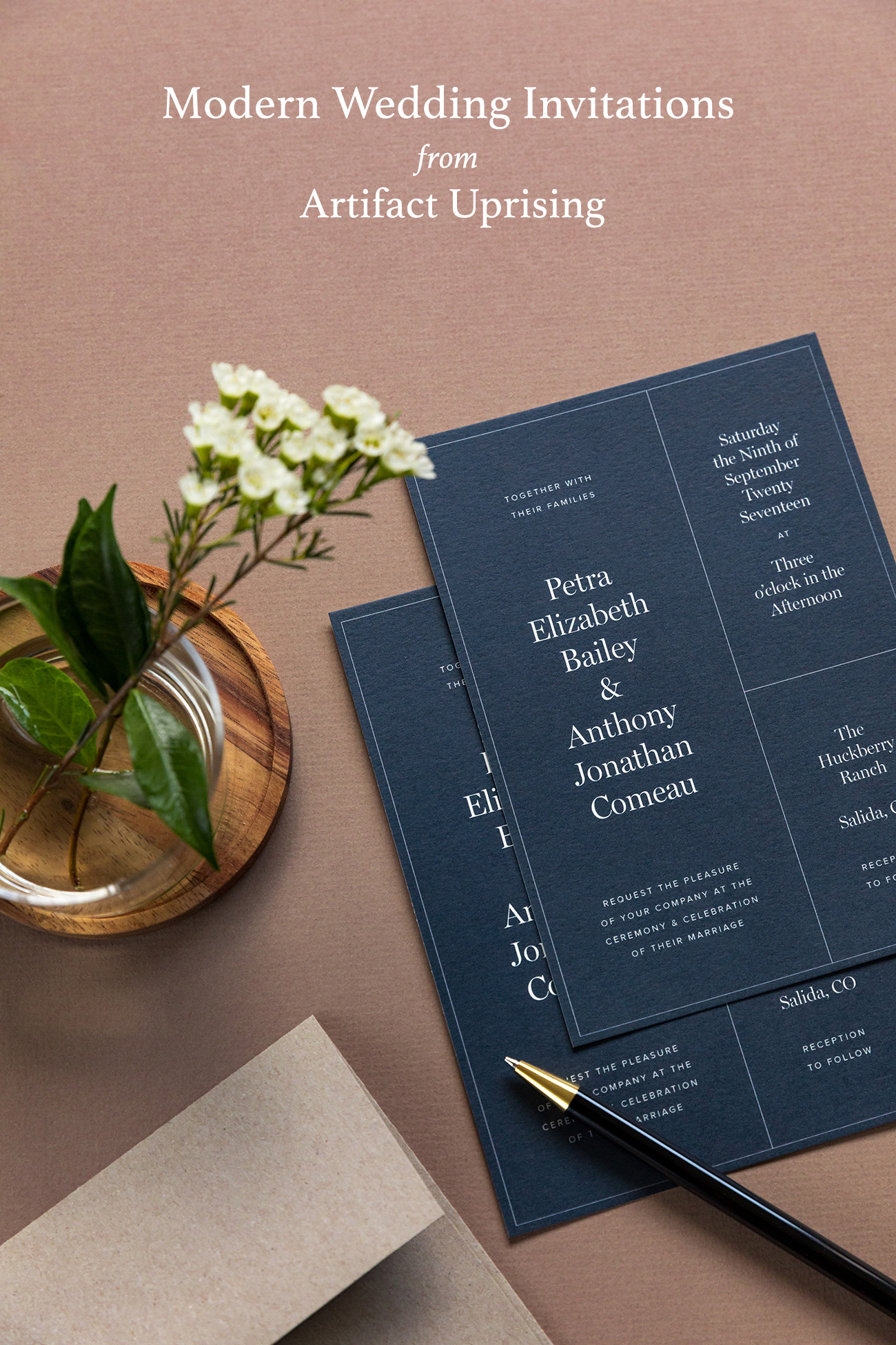 modern   luxe wedding invitations from artifact uprising