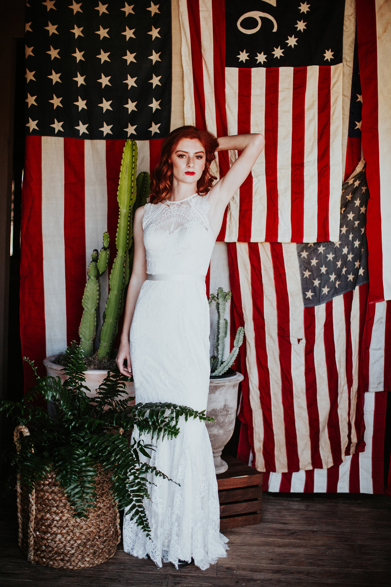 bride with american flag