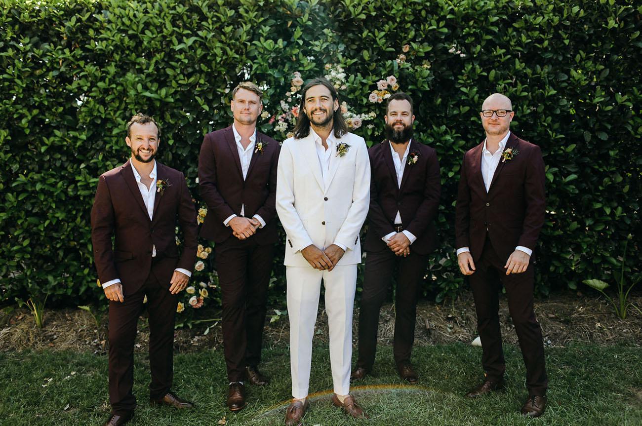 red suit groomsmen