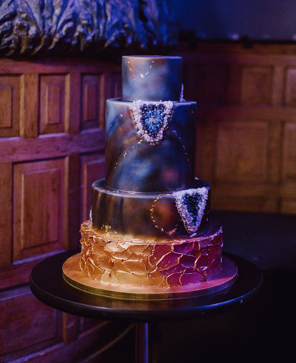galaxy geode wedding cake