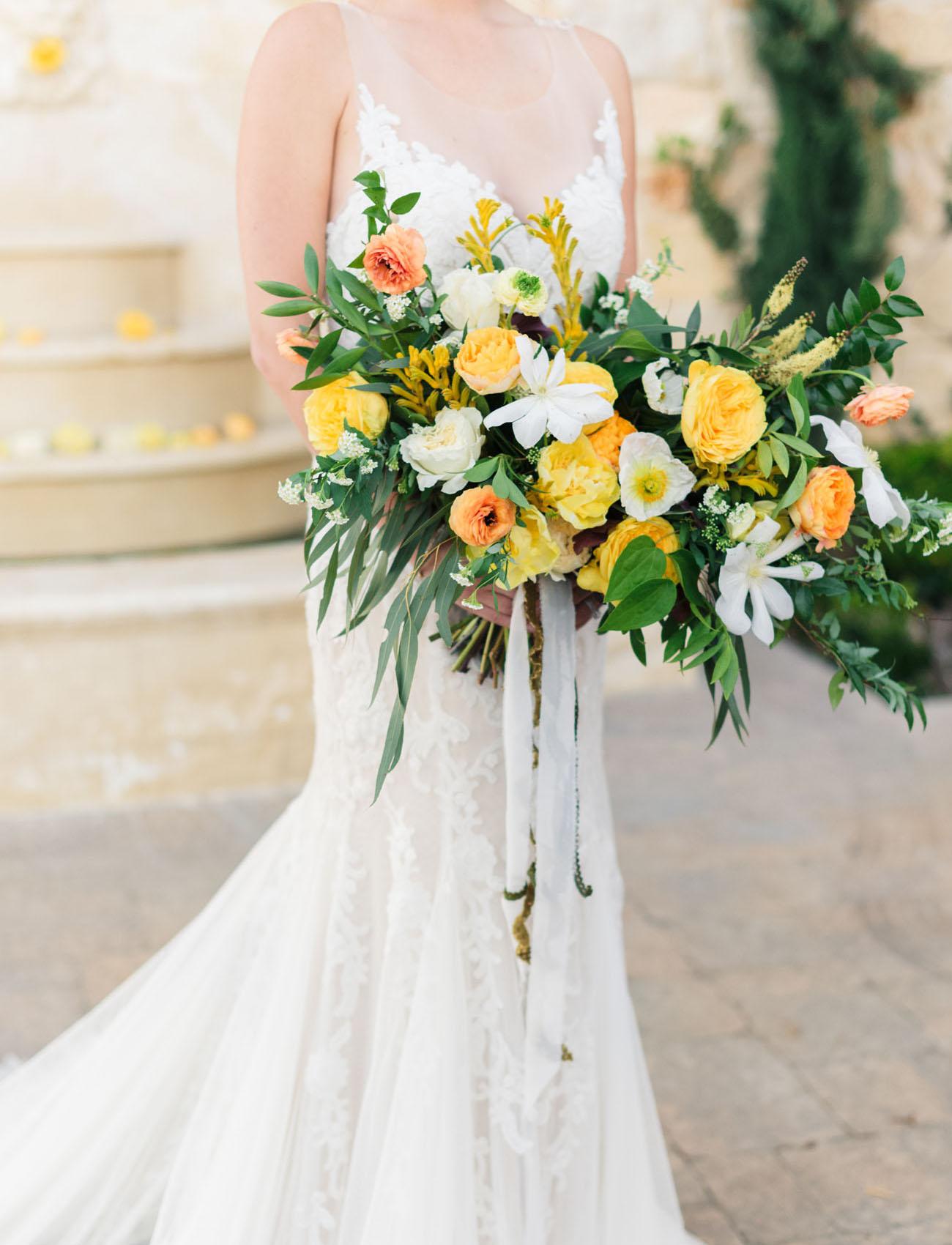 yellow peony bouquet