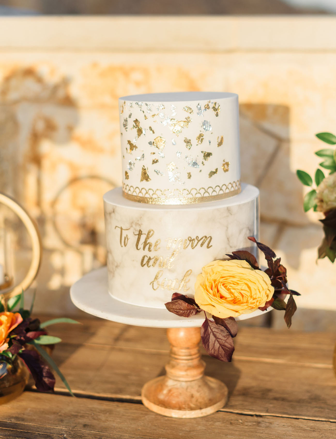 gold geometric cake
