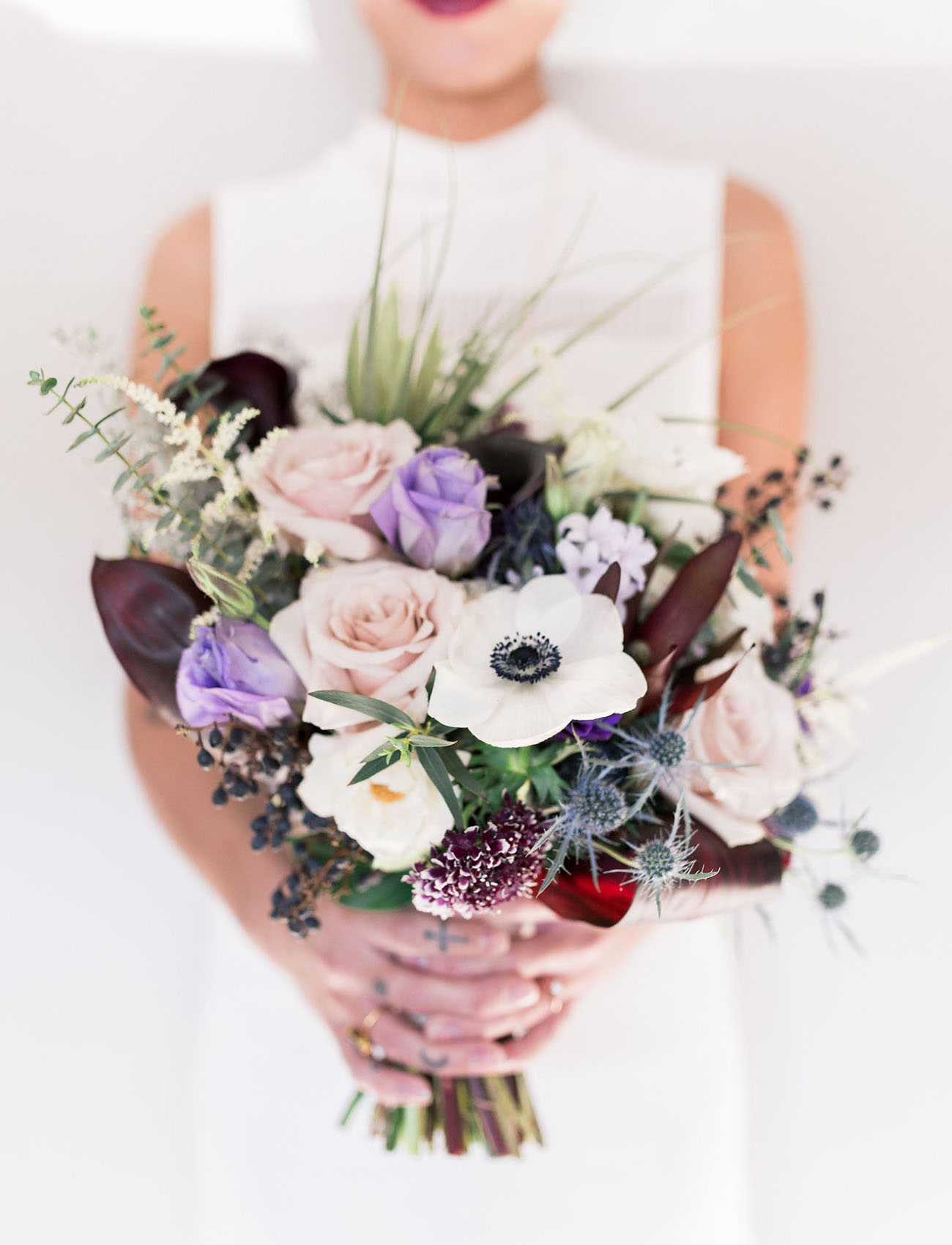 purple anemone bouquet
