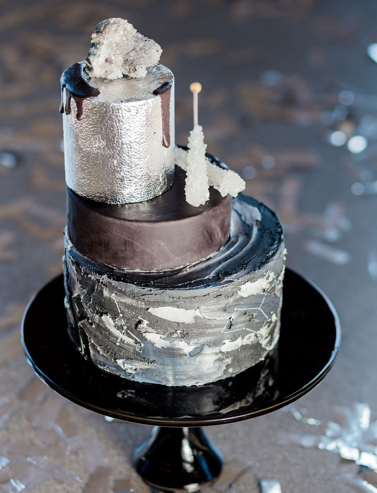 edgy silver wedding cake