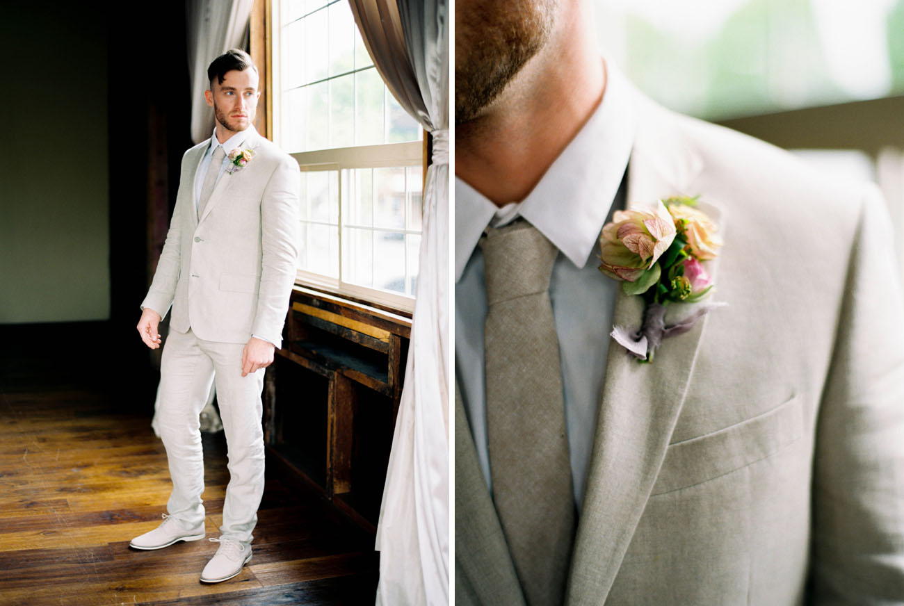 tan suit groom