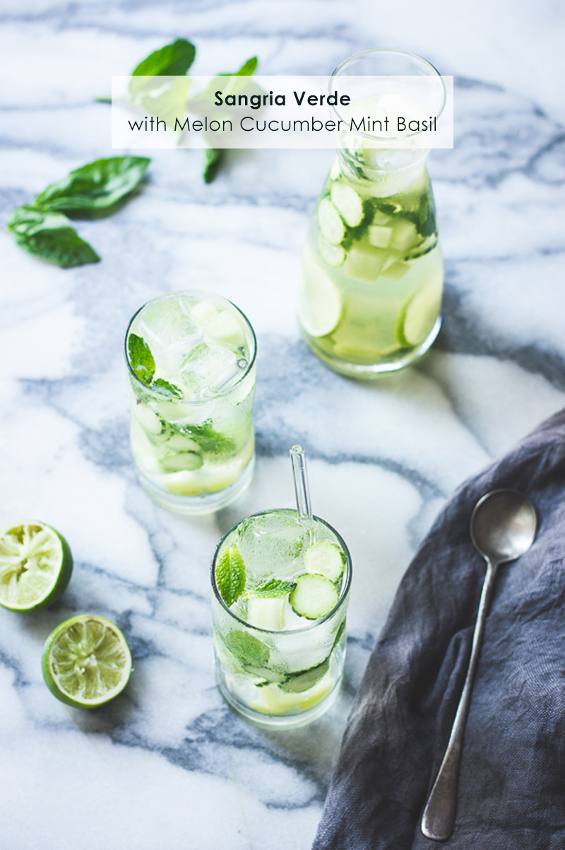 Sangria Verde with Melon Cucumber Mint Basil