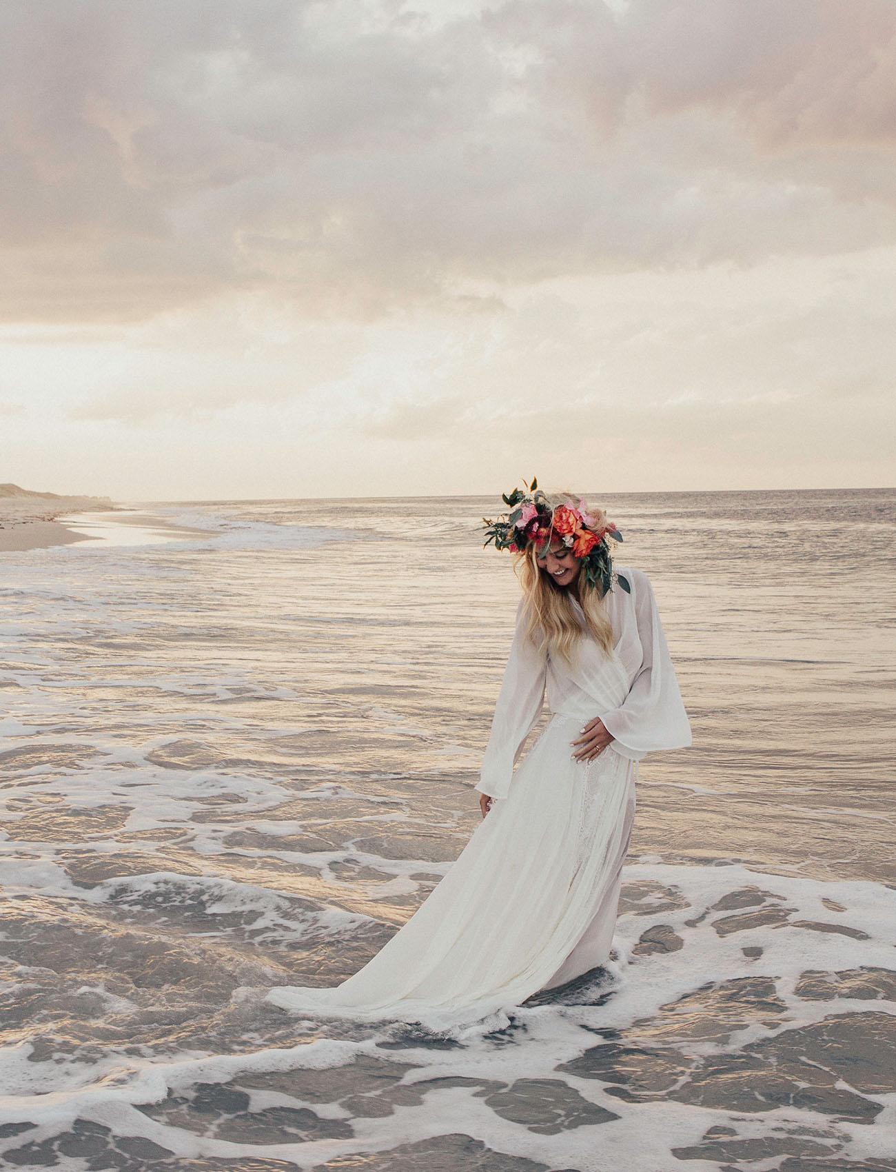 Bohemian Coquina Beach Bridal Session