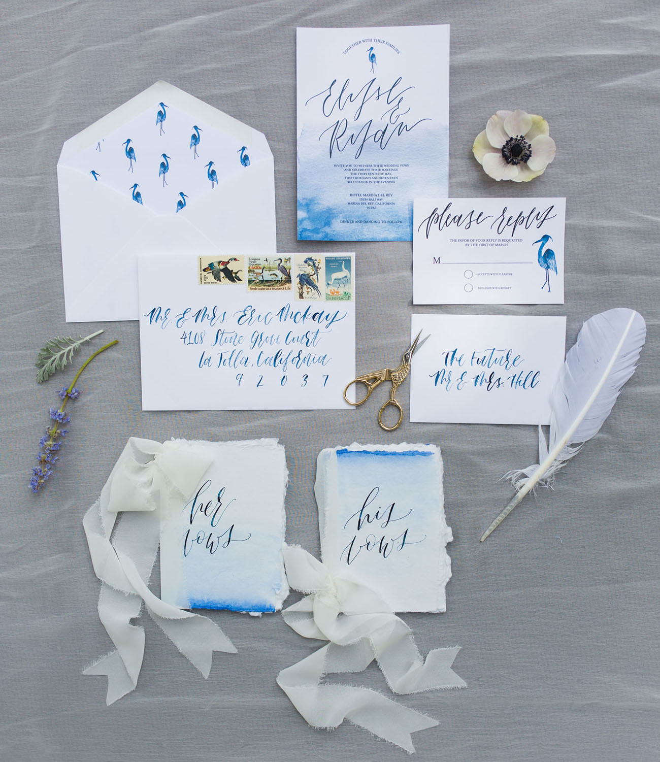 blue watercolor invitations