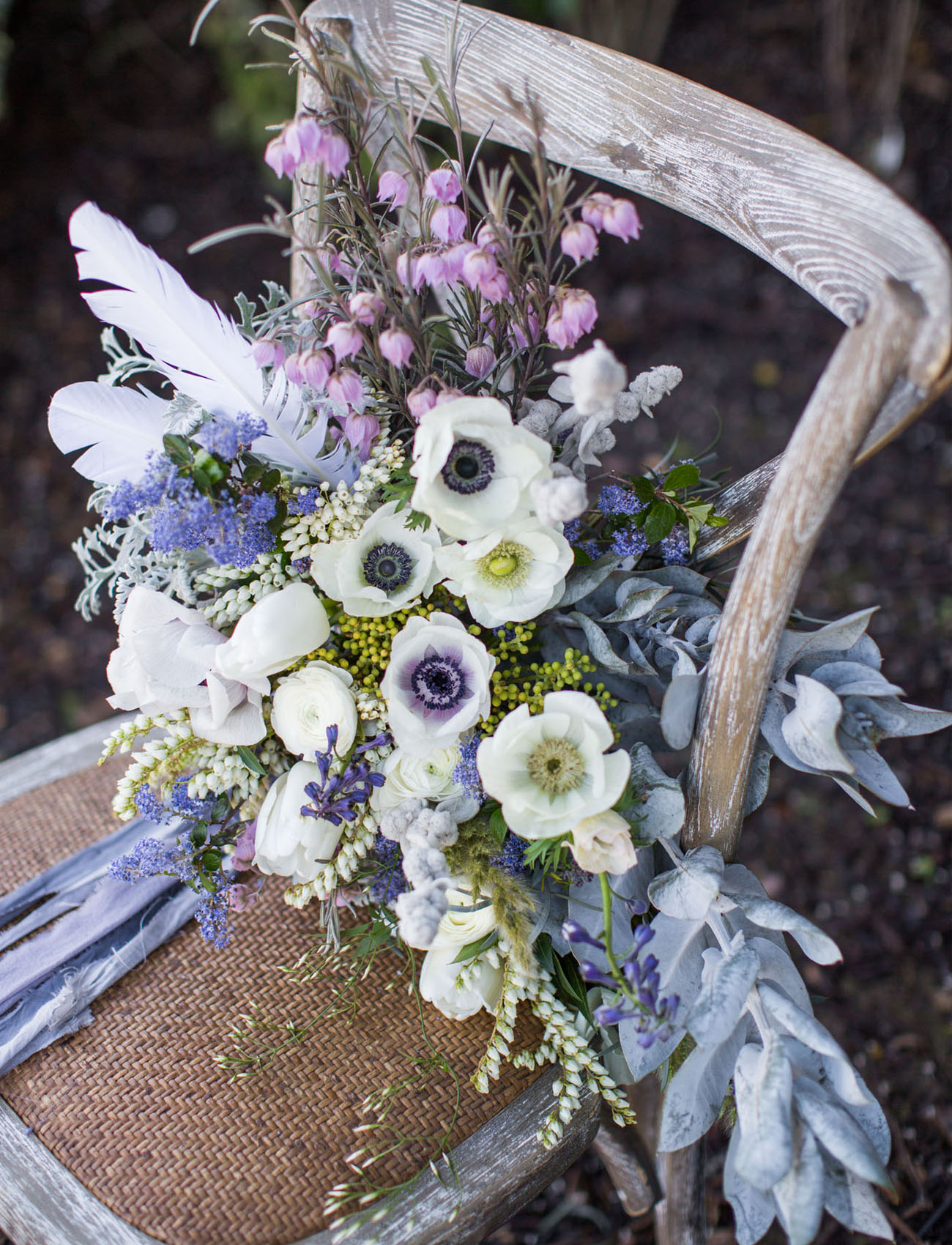 anemone and blue bouquet
