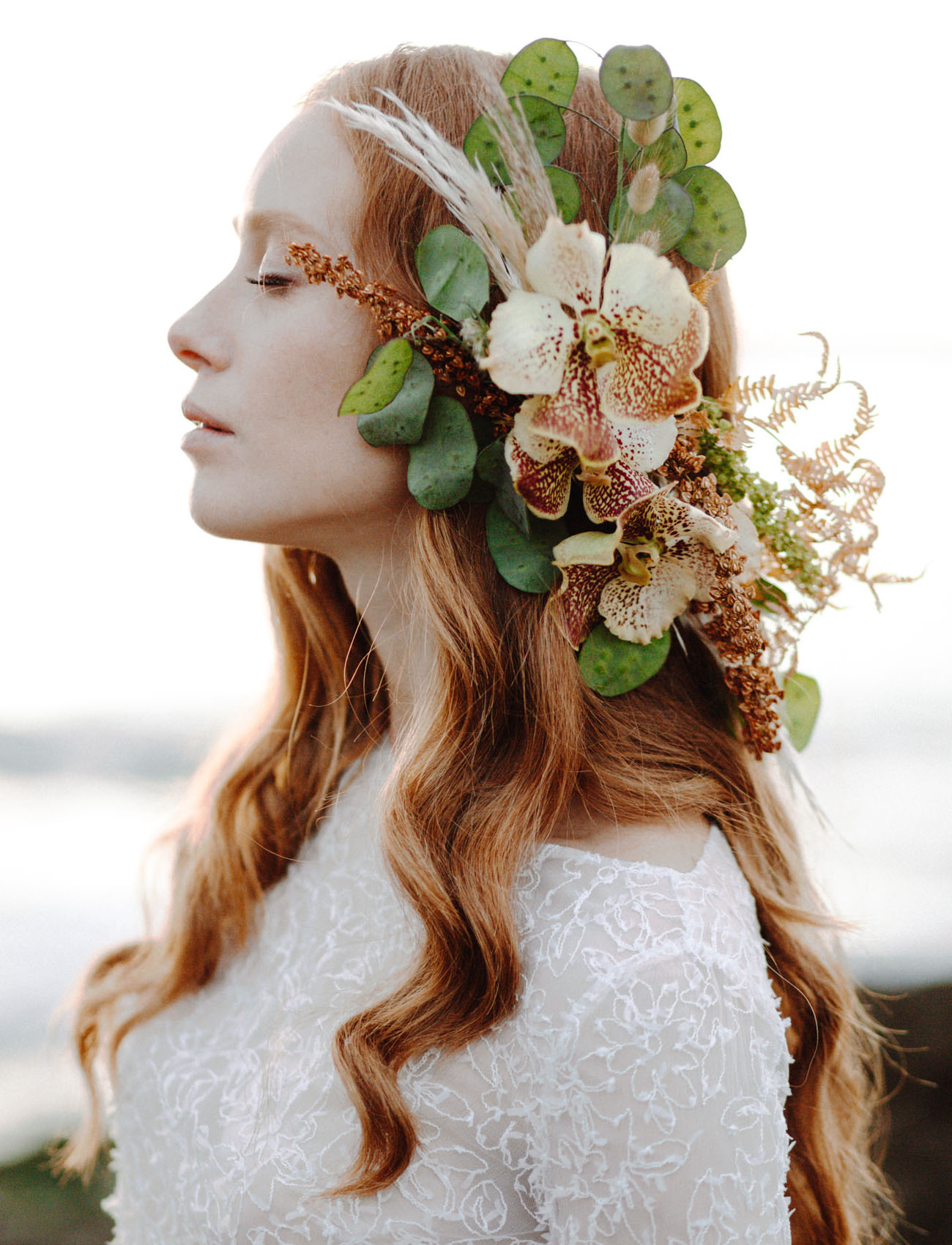 orchid hair piece