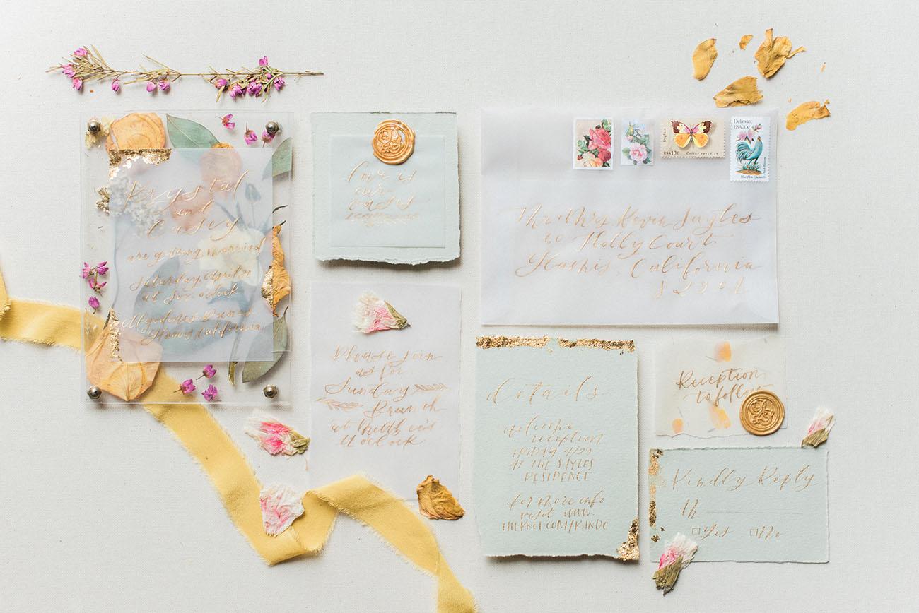 gold calligraphy invite