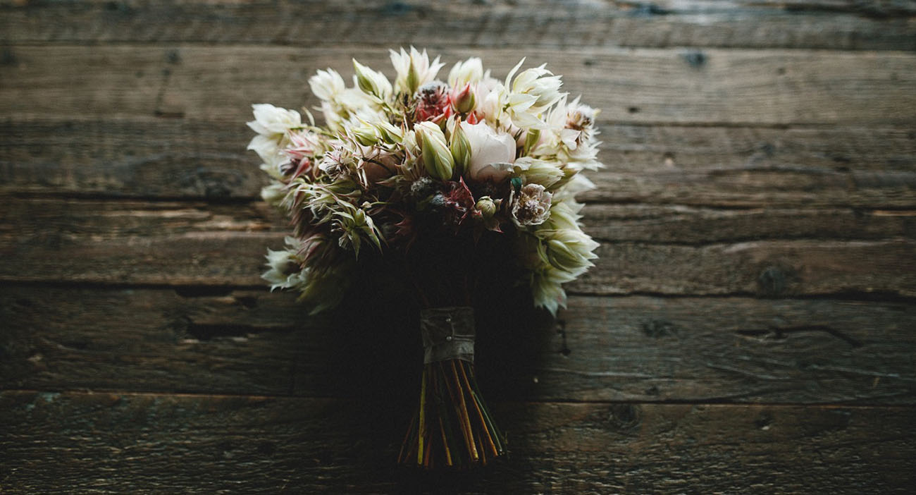 blushing protea bouquet