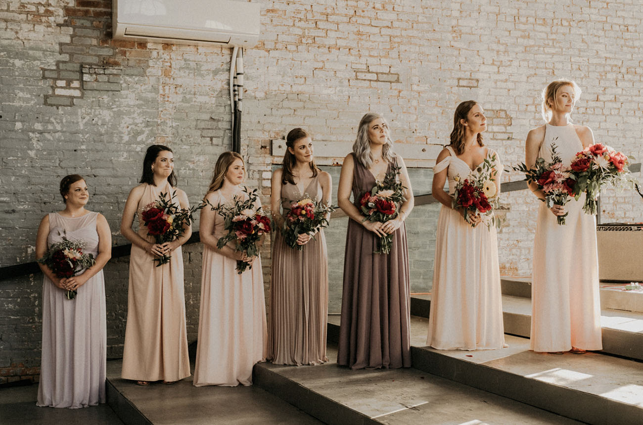 neutral tone bridesmaids