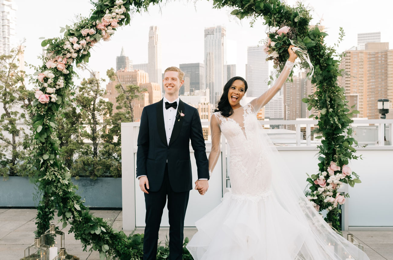 Modern Garden Party Rooftop Wedding in New York City
