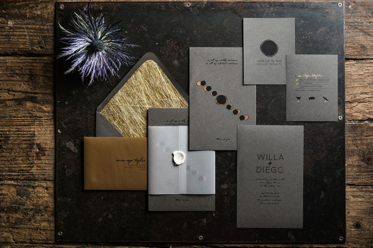 gray wedding invitation