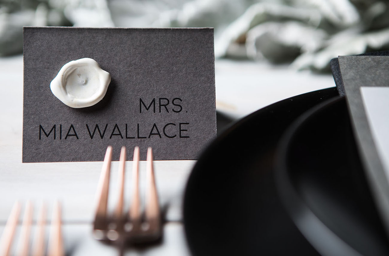 wax stamp name card