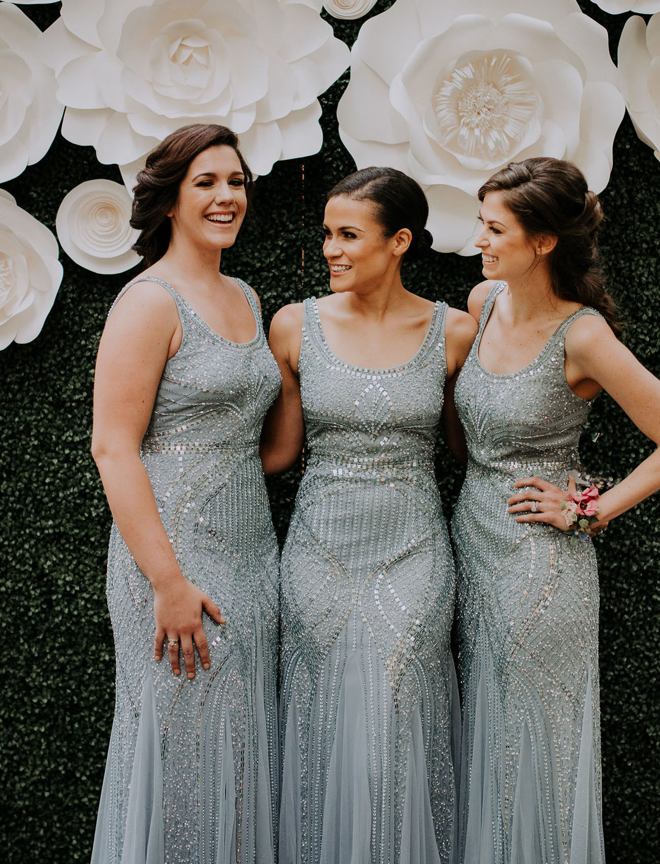 Urban garden wedding inspiration in the heart of dallas green sequin bridesmaid dresses ombrellifo Image collections