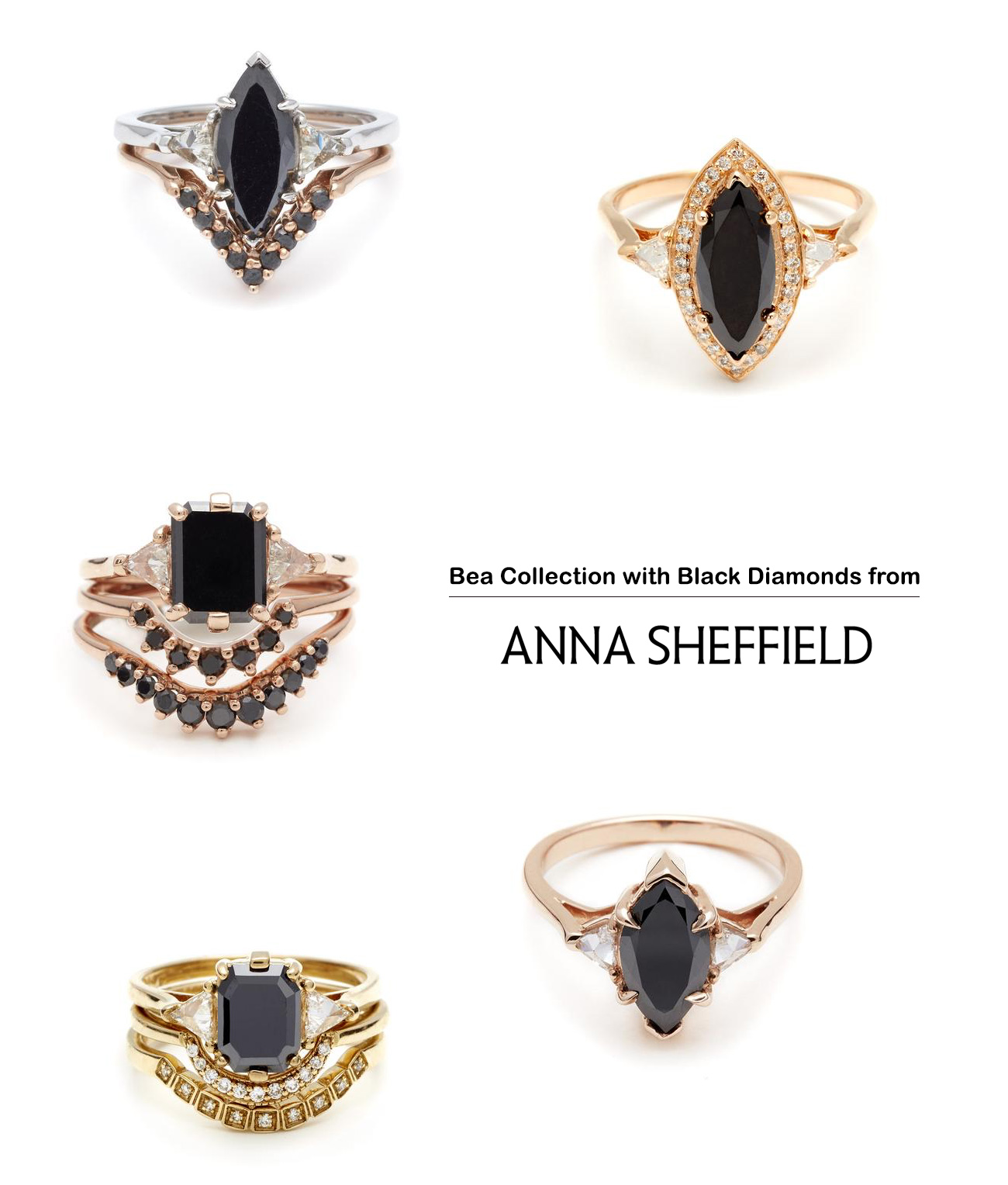 Anna Sheffield engagement rings with black diamonds