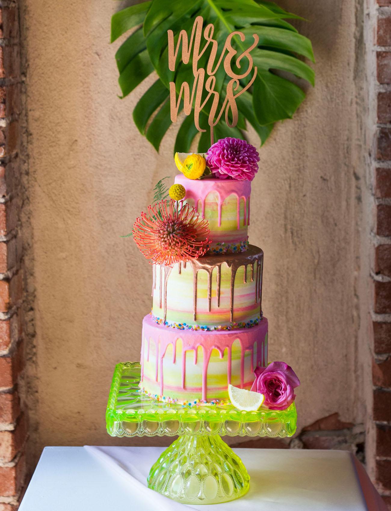 rainbow drip cake